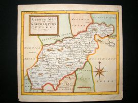 UK 1748 Antique Hand Coloured Map. Northamptonshire